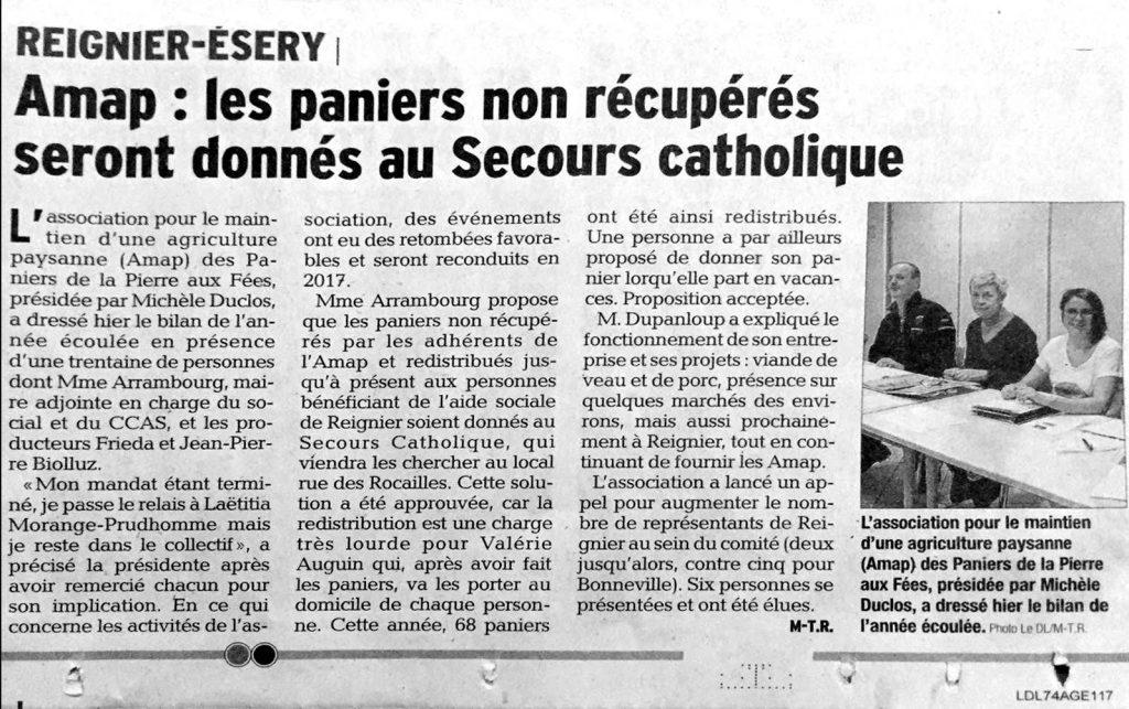 Article paru dans le Dauphiné Libéré