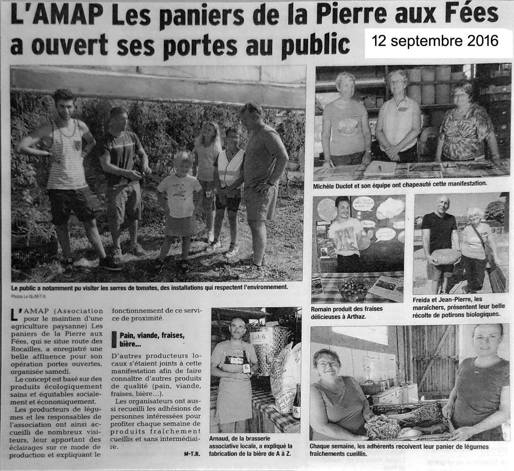 Article du Dauphiné Libéré du 12 septembre 2016